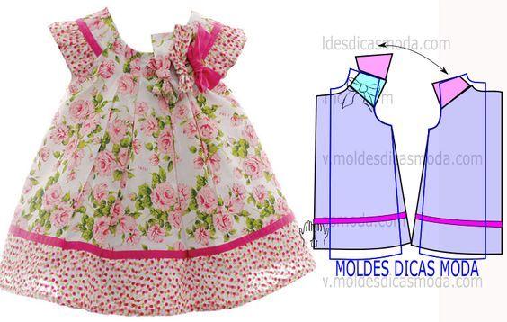 3aebc8ce0 Moldes para hacer vestidos para niñas de 1 a 3 años04 | BABY MODA ...