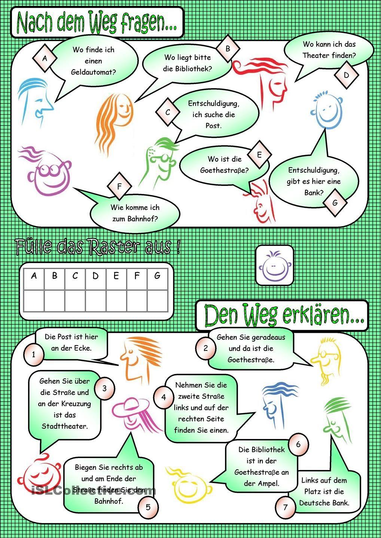 WEGBESCHREIBUNG - Wie komme ich am besten zum / zur... Arbeitsblatt ...