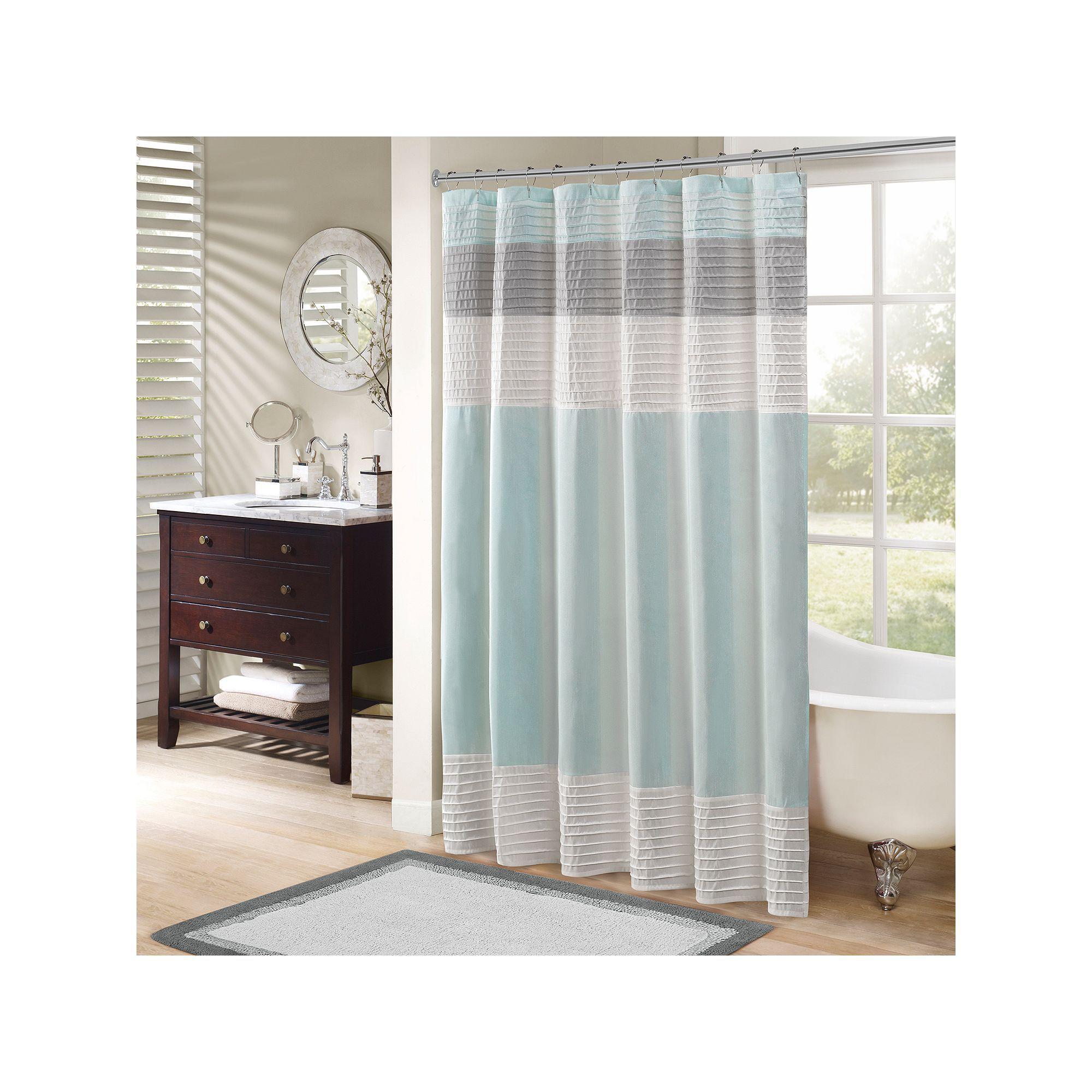 Madison Park Eastridge Shower Curtain In 2020 Striped Shower