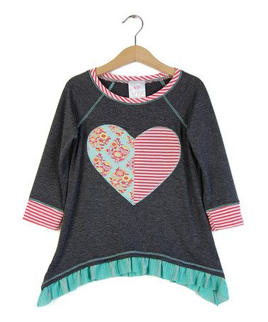 This Charcoal Heart Sidetail Tunic - Girls is perfect! #zulilyfinds