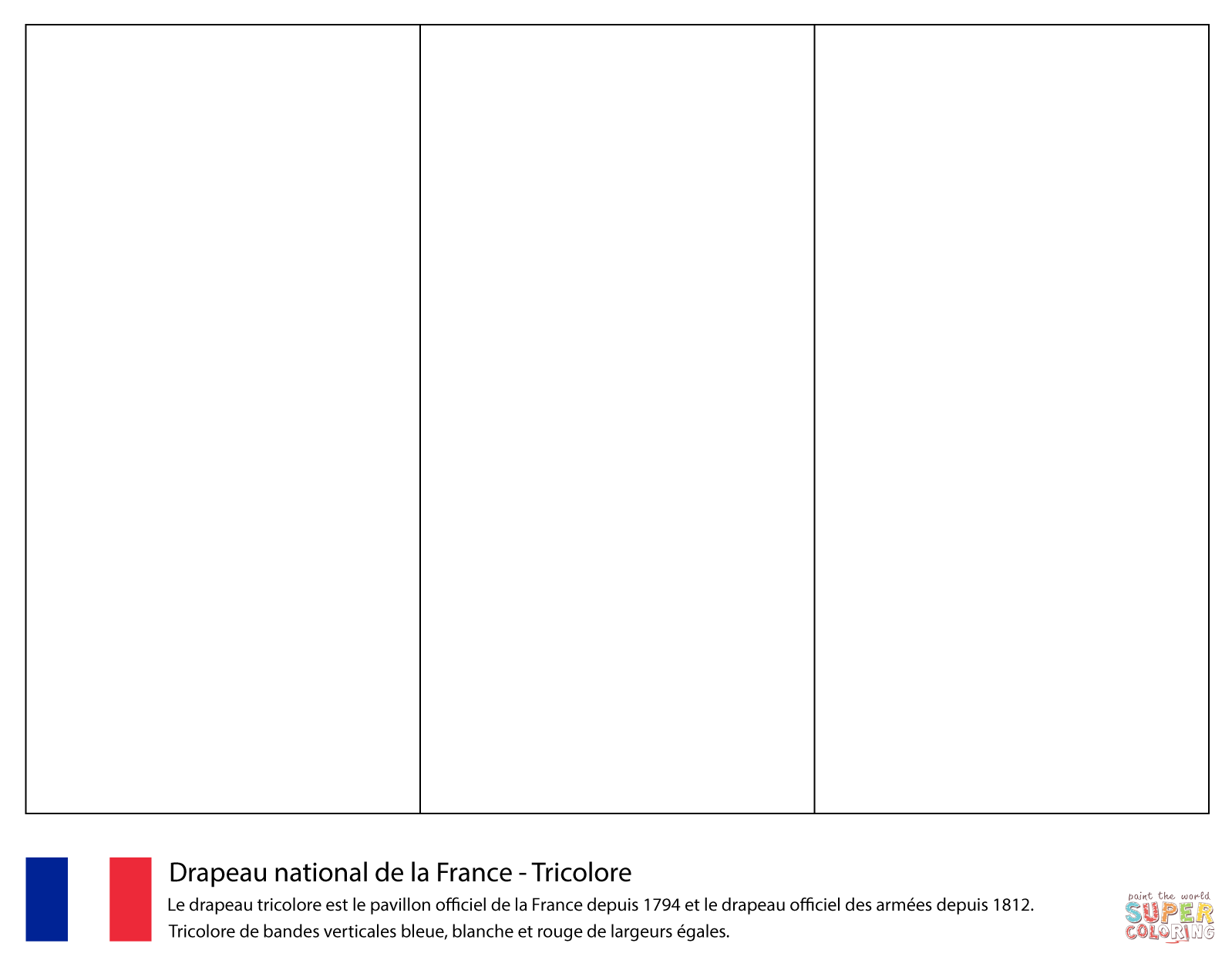 Flag Of France Coloring Page