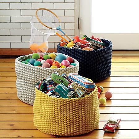 Large Kneatly Knit Rope Bin (Yellow) In Bins U0026 Baskets | The Land Of Nod