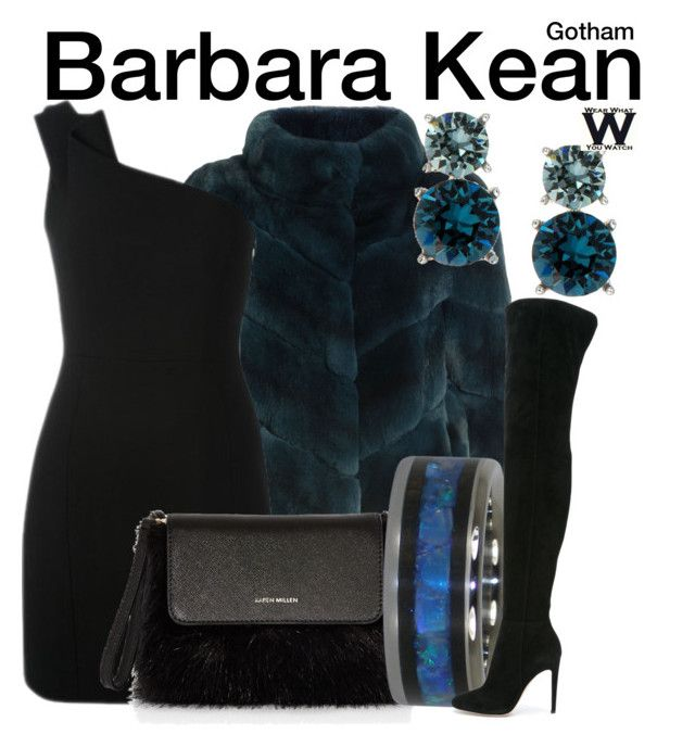 Gotham by wearwhatyouwatch on Polyvore featuring polyvore fashion style Yves Saint Laurent Yves Salomon Gianvito Rossi Karen Millen Anne Klein clothing television wearwhatyouwatch