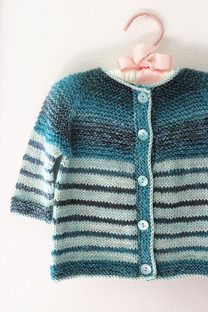 The sweater is a very basic, easily adjustable pattern. Use thinner yarn and smaller needles for a smaller sweater or thicker yarn and larger needles for a bigger one, just be sure to adjust the length accordingly.
