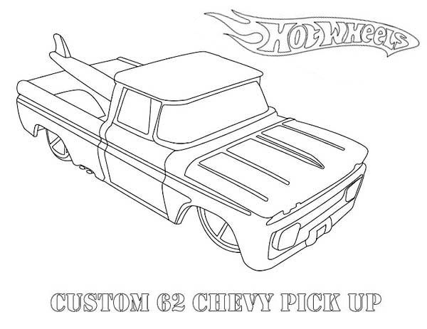 Hot Wheels Custom 62 Chevy Pick Up Coloring Page | coloring pages ...