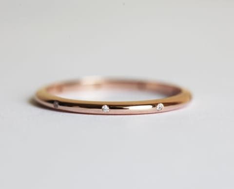 Rose Gold Diamond Wedding Band Simple Eternity Micropave