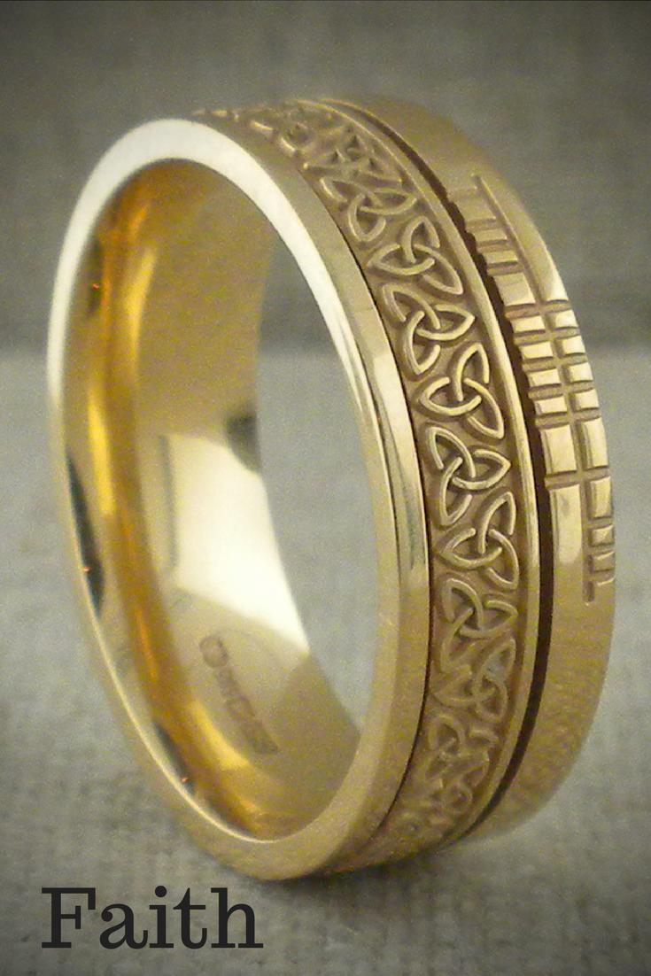 Trinity Knot Wedding Ring 7 2 Mm With Ogham Rail Edge Unique Celtic Wedding Rings Celtic Wedding Rings Irish Wedding Rings Wedding Rings