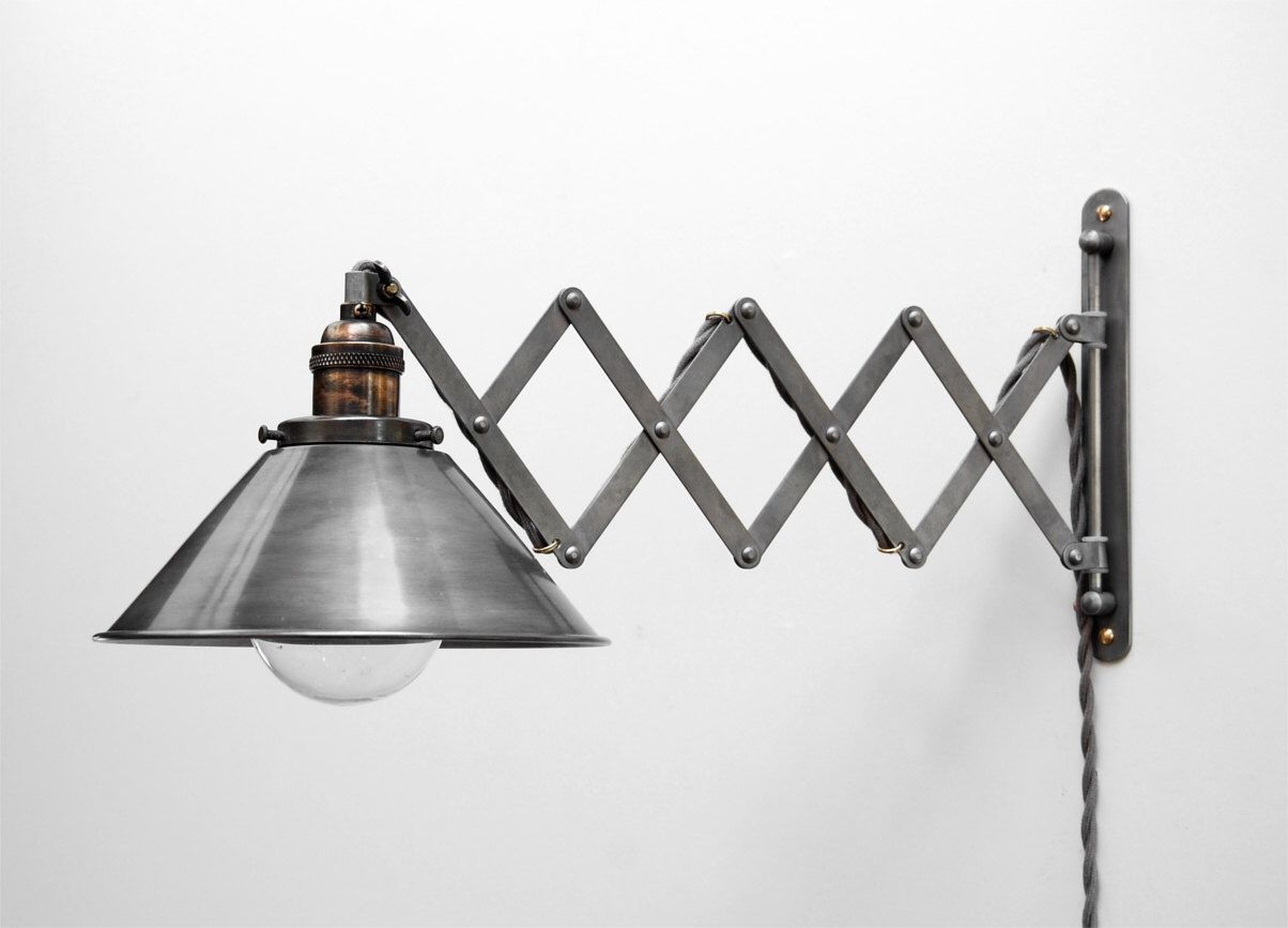 Wall Extension Light : Scissor Lamp! Articulating Adjustable Steel Swing Sconce - Industrial Wall Mount Extension ...