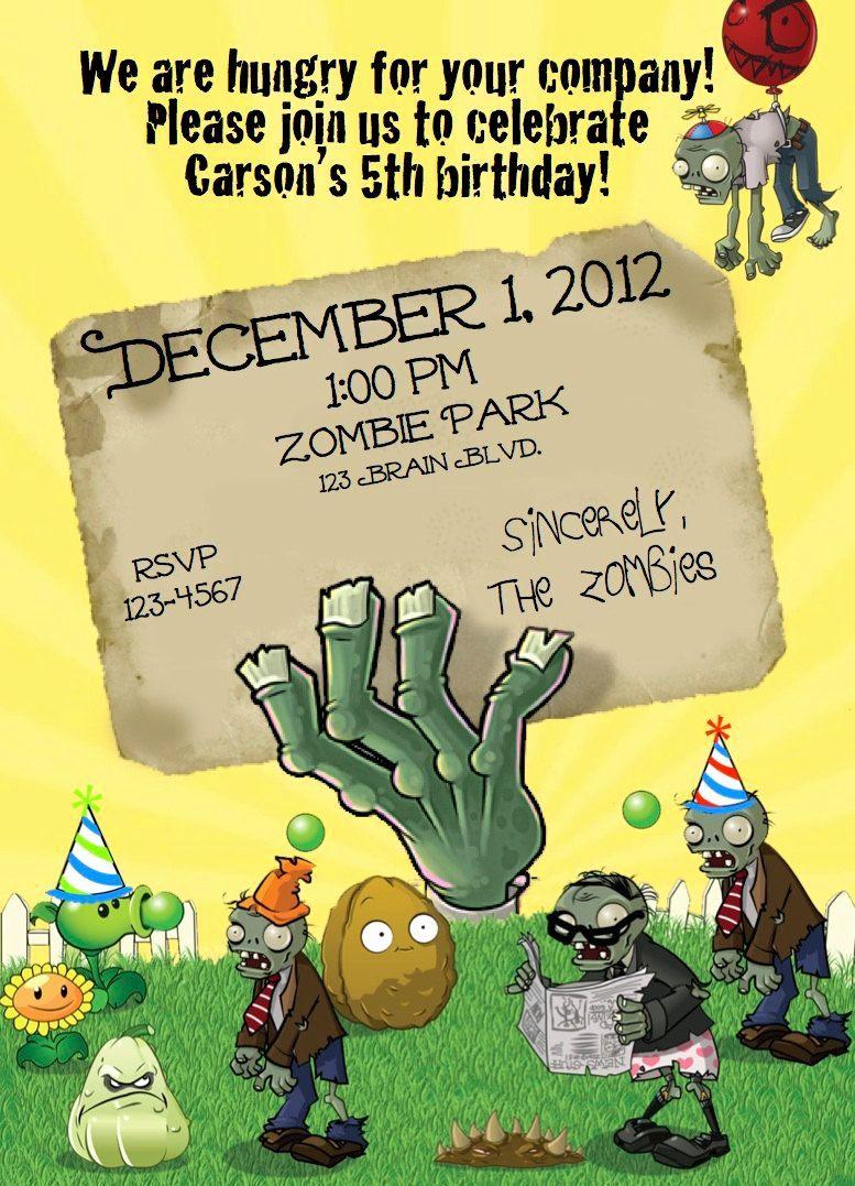 Plants Vs Zombies Invitation Template Inspirational Zombie Party Invitation Templates Zombie Birthday Zombie Birthday Parties Zombie Party