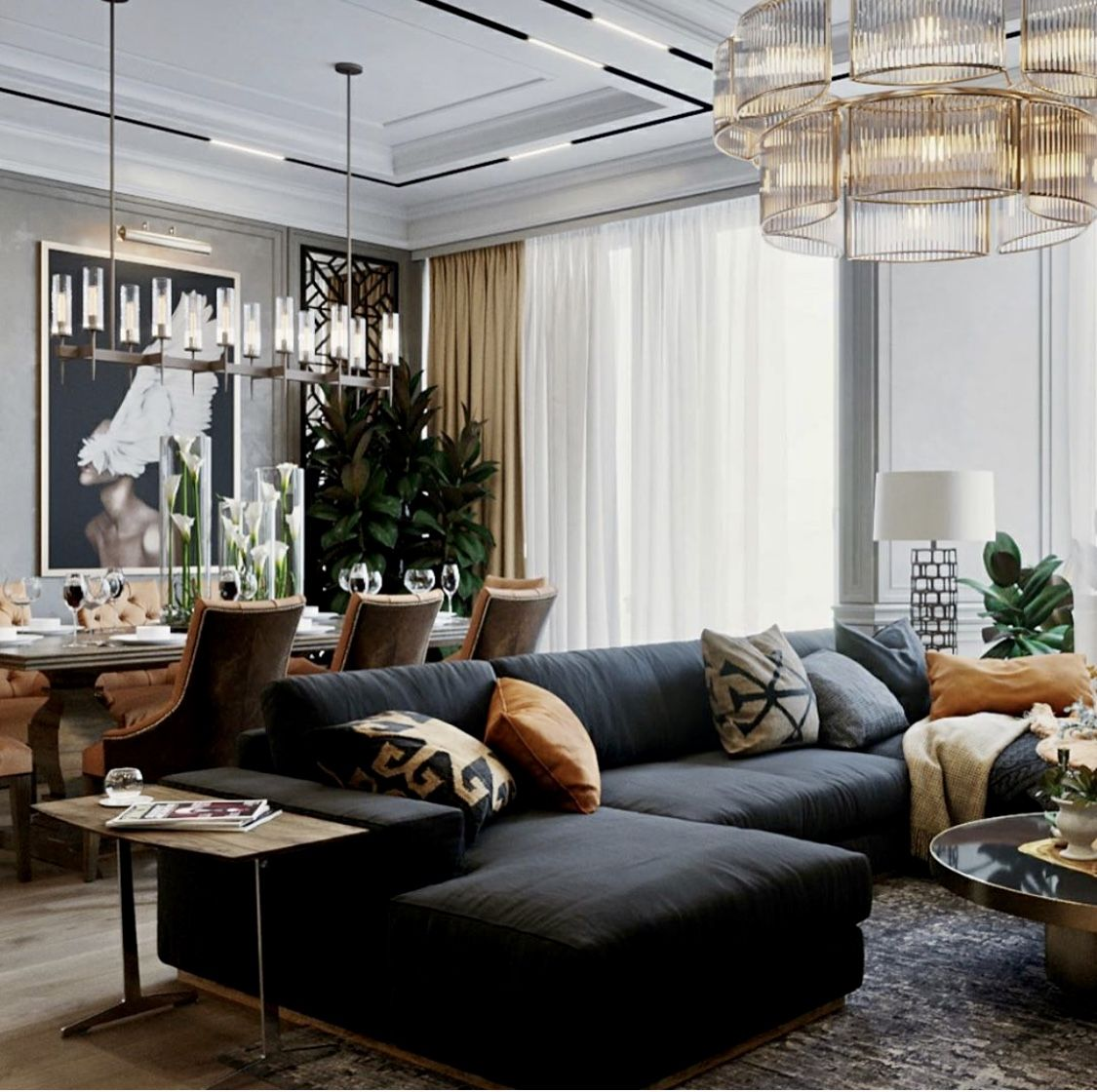art deco style glam living room decor