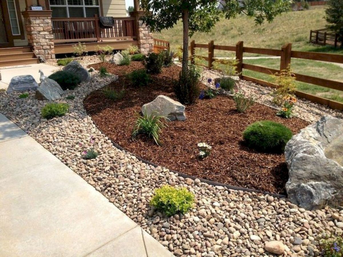 17 awesome front yard rock garden landscaping ideas  Xeriscape