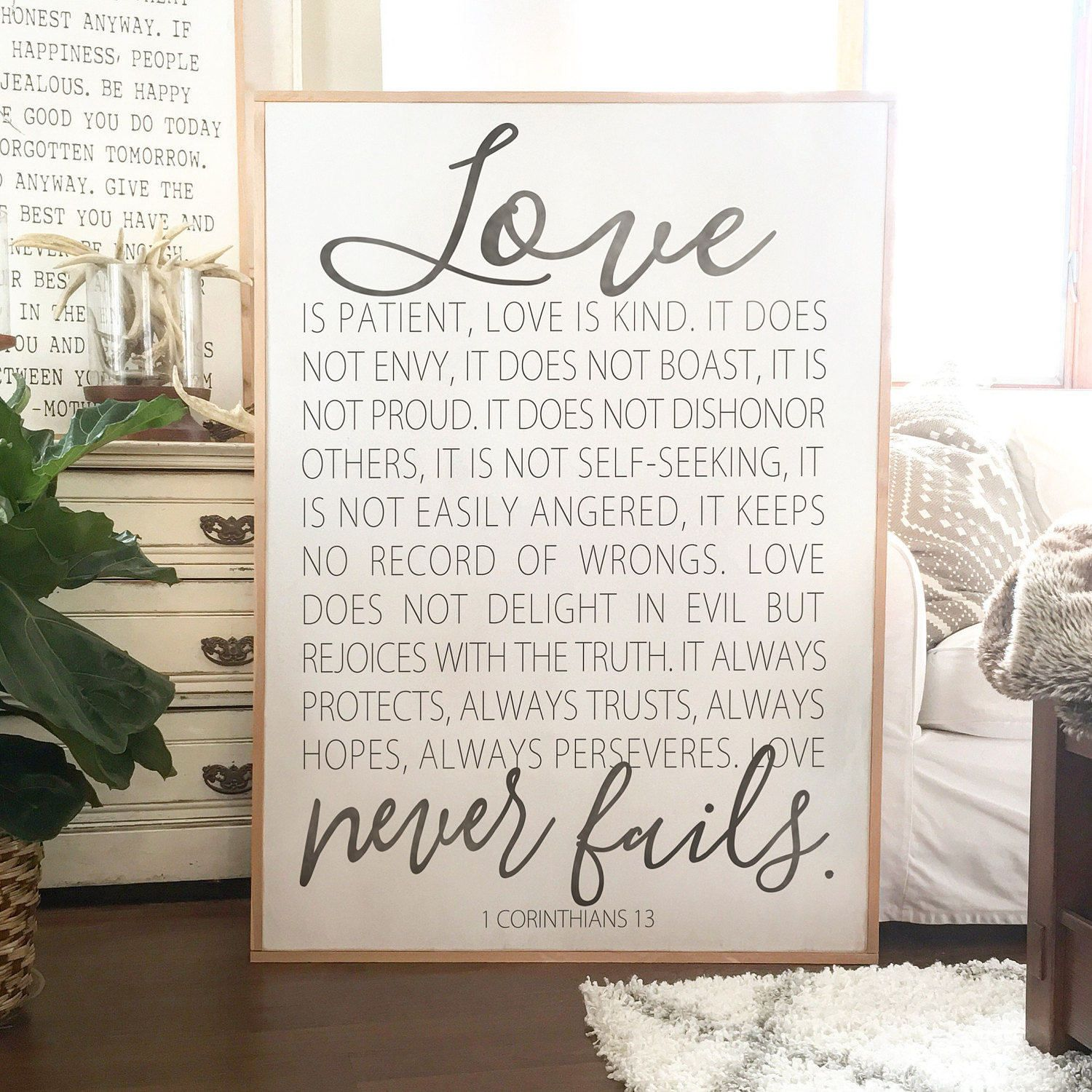 Large Wall Decor Wooden Signs God Quotes Home Decor Signs Love Is Patient Love Never Fails 1 Corinthians 13 Framed Wood Sign With Images Love Is