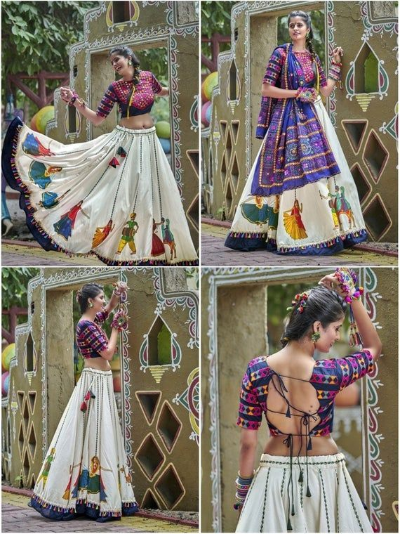 Navy Blue & Off White Soft Cotton Navratri Special Lehenga Choli #chaniyacholi