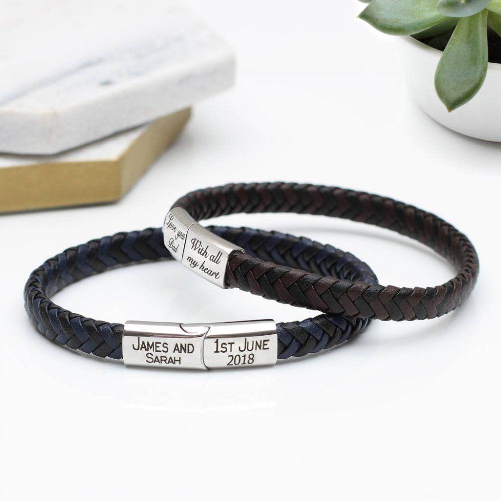 610dbc6997de Mens Contrast Personalised Leather Bracelet