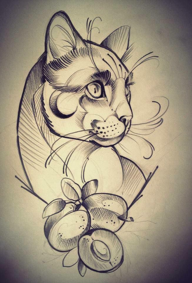 Art By Briye Mcconnell Cat Tattoo Designs Cat Tattoo Big Cat Tattoo