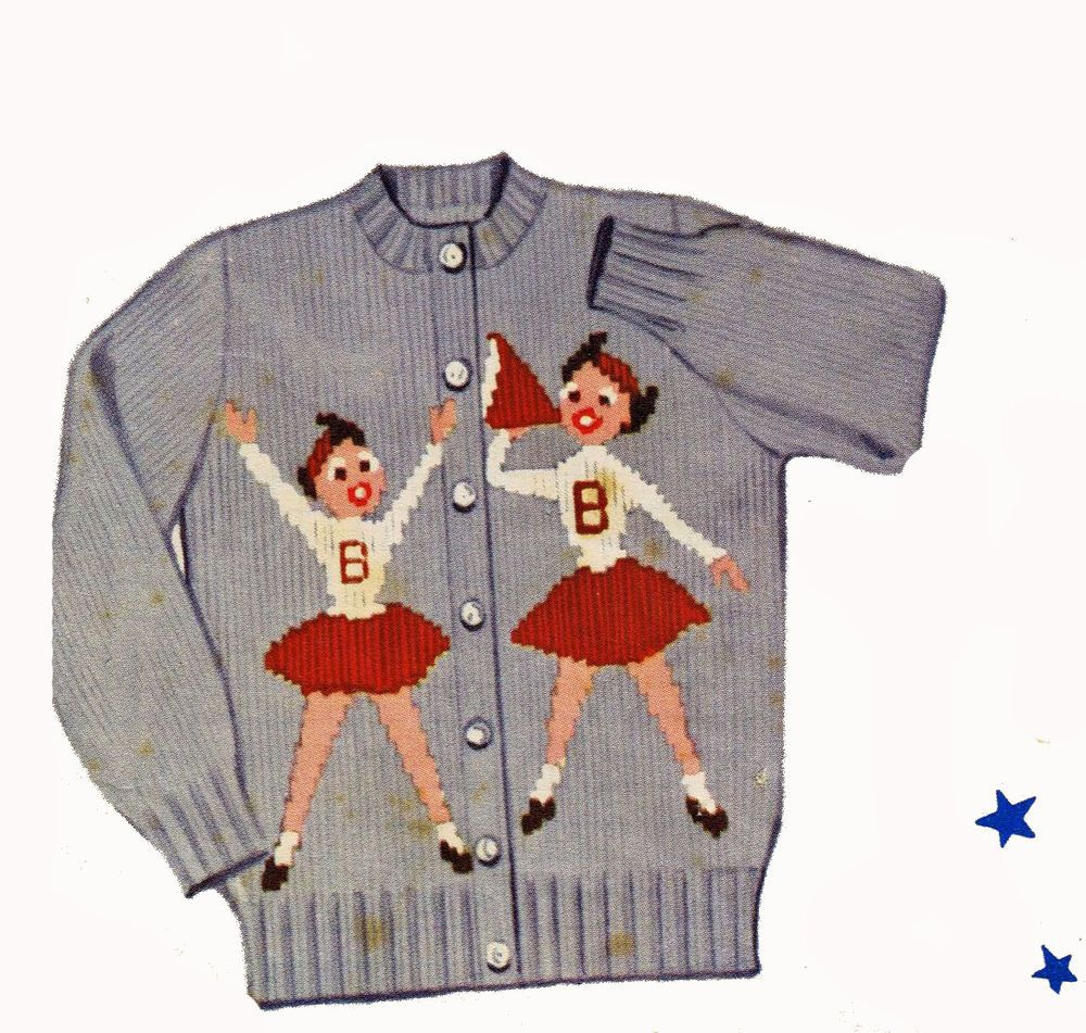 Cheer Leaders Sweater KNITTING PATTERN Knit O Graf 210 Girls size 12 ...