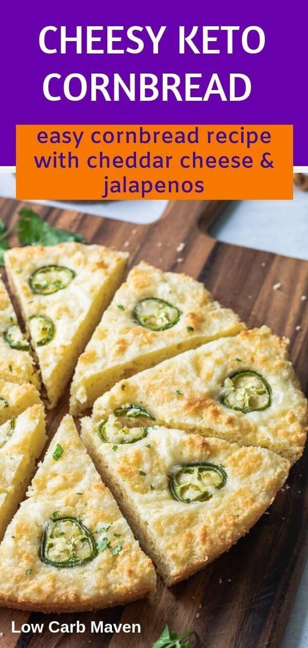 This easy keto cornbread recipe with jalapeno cheddar cheese comes together fast in a food processo