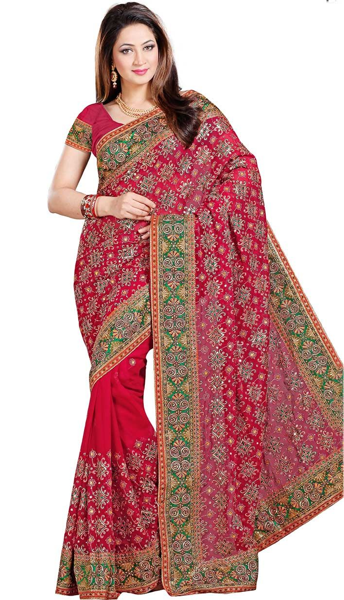 Buy Traditional Ethnic Red Faux #ChiffonDesignerSaree Product Code: KDS-39627 Price: INR 5145(Unstitch Blouse), Color: Red Shop Online now: http://www.efello.co/Saree_Traditional-Ethnic-Red-Faux-Chiffon-Designer-Saree,-Sari_38043