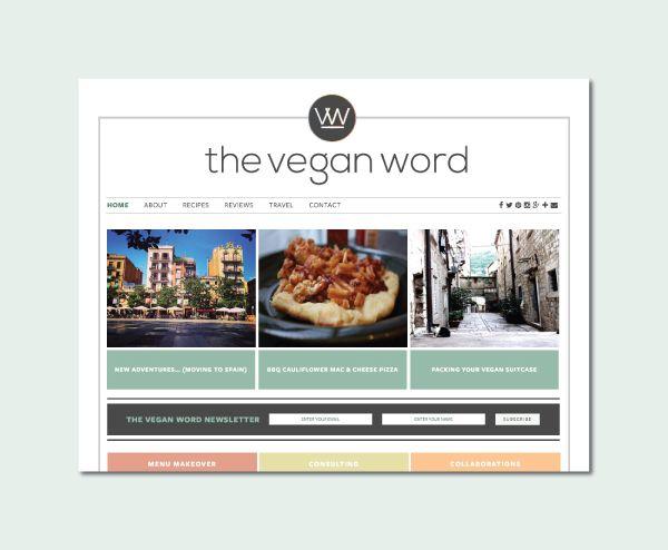 Custom Blog Design for The Vegan Word - logo design, wordpress theme, mood board inspiration, blog design idea, graphic design, branding