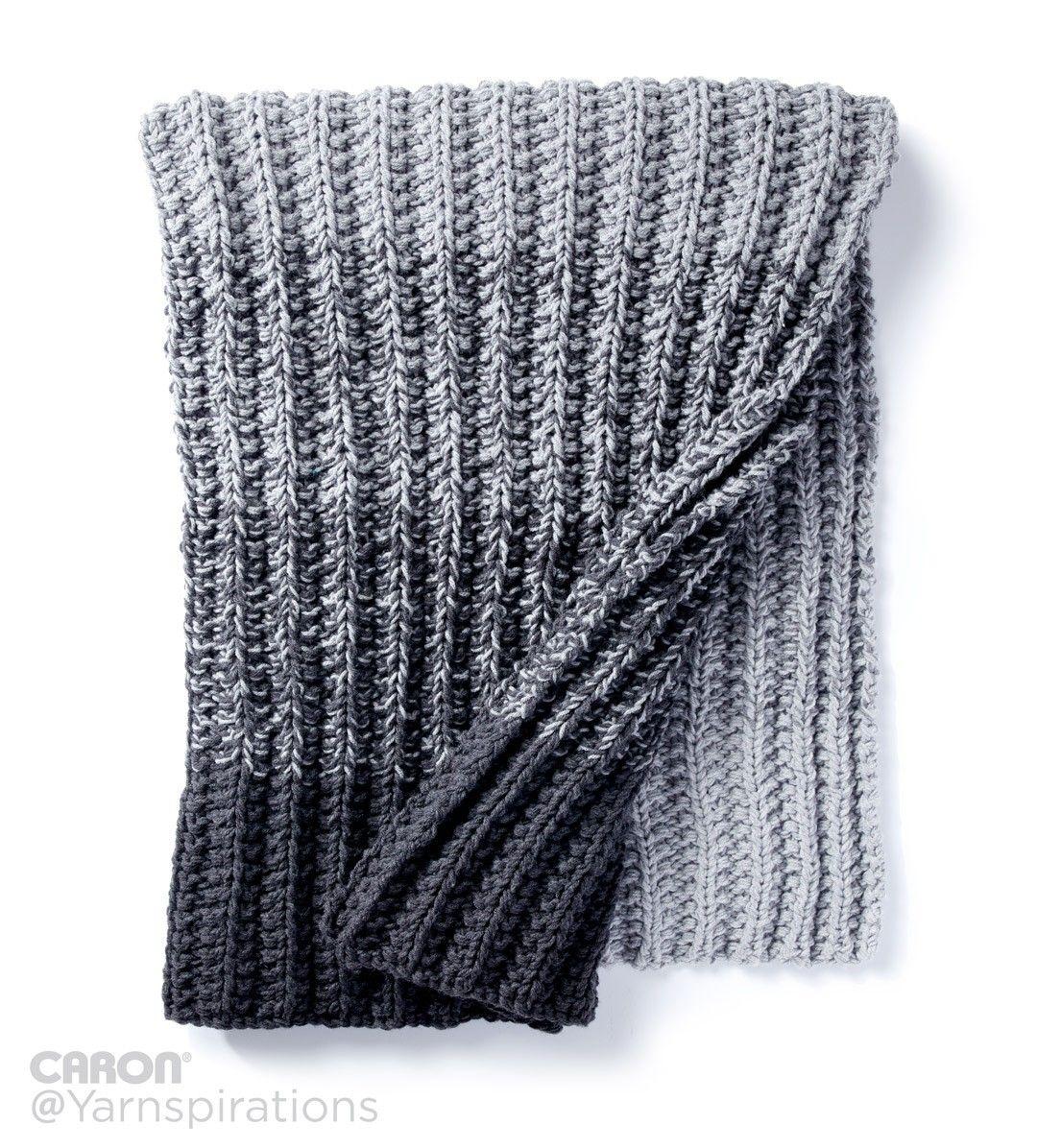 Ombre Ridge Knit Blanket | Free Pattern | Caron One Pound | Gray ...