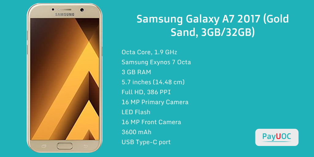 Buy Samsung Galaxy A7 2017 (Gold Sand, 3GB/32GB) for Rs