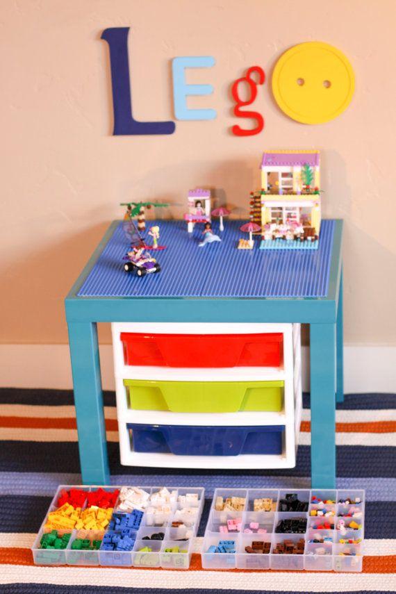 Turquoise LEGO® Table with 3-Drawer STORAGE Unit 20  x 20  Construction Area & Turquoise LEGO® Table with 3-Drawer STORAGE Unit 20