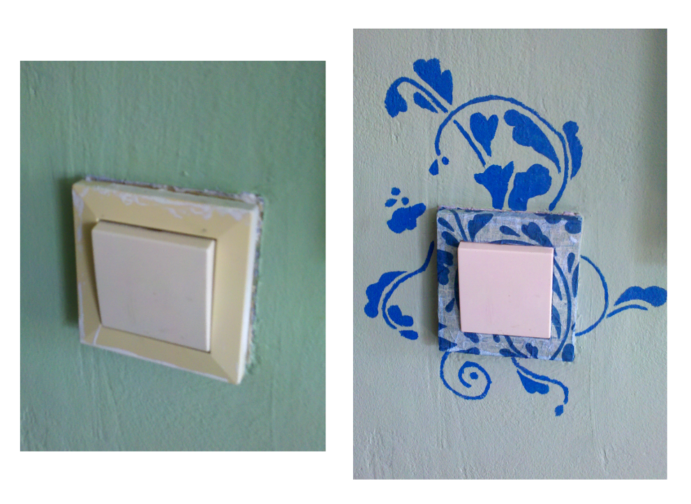A light switch decoupaged with an IKEA napkin | Just plain thrifty ...