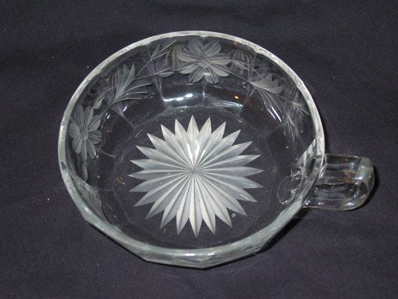 Antique Etched Glass Finger Dish Candy Dish by VintageClassicWares, $42.00