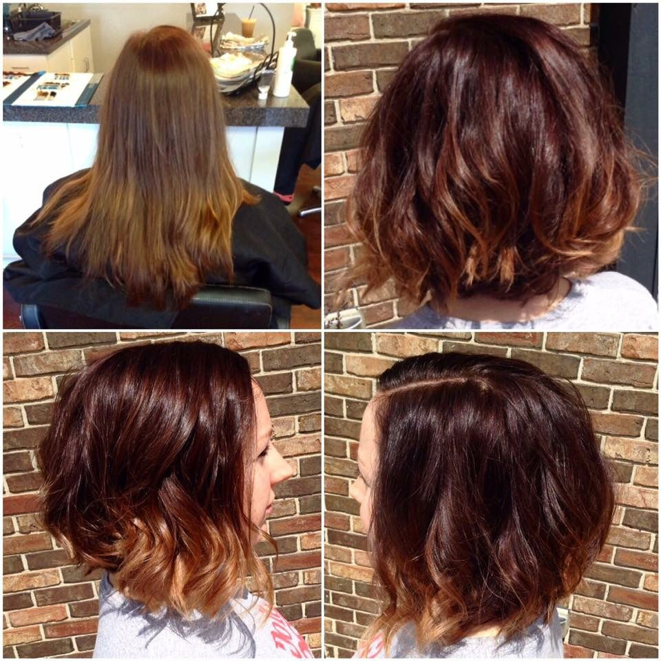 Rich red balayage with a shattered bob haircut | Short ...