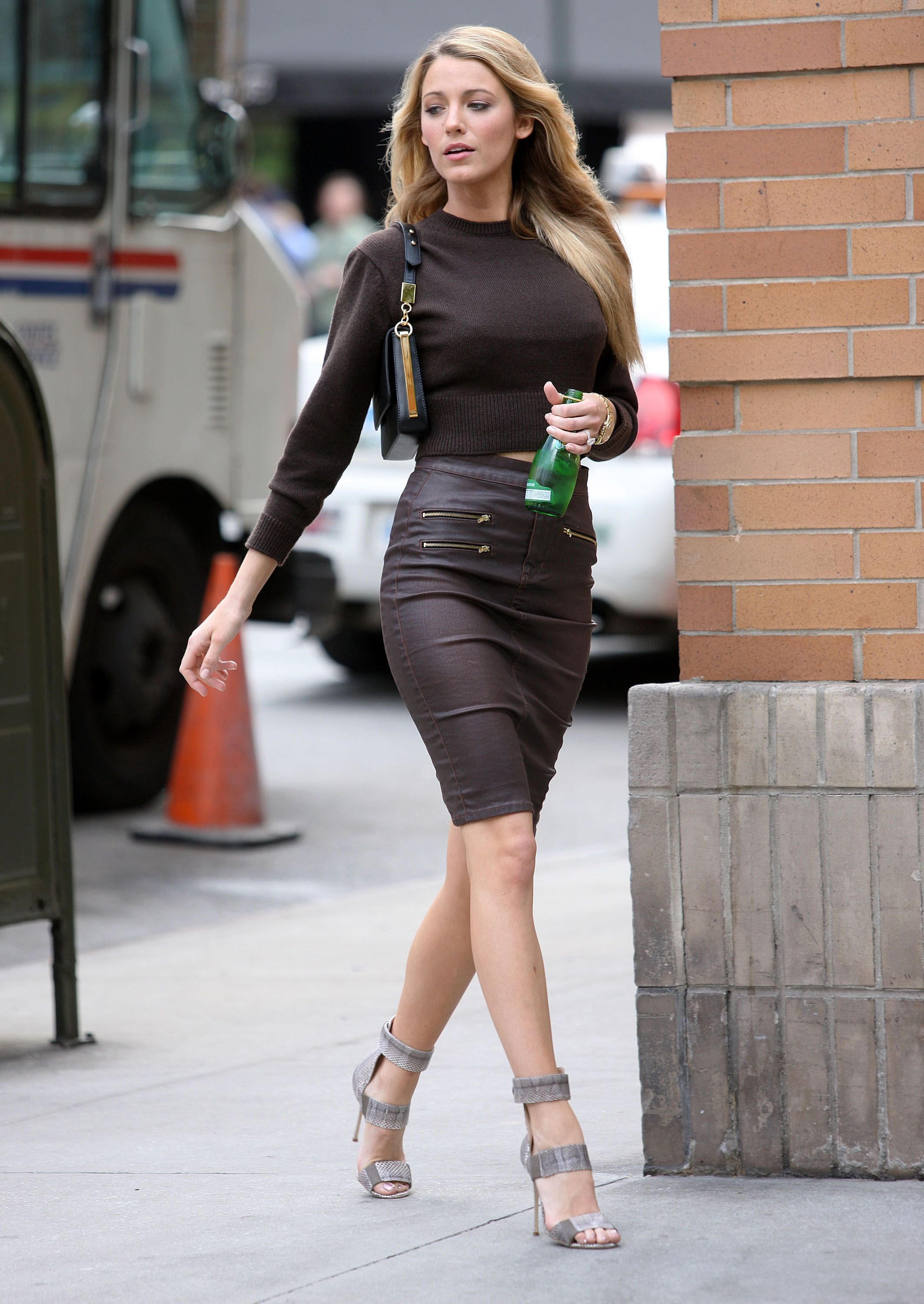 Blake Lively Style - #leather #highwaisted #skirt #womenswear #fall #outfit #celebrity #actress