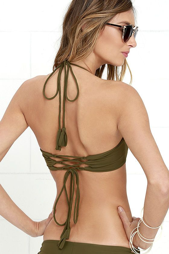 a96145532d489 Kaohs Gypsy Olive Green Bikini Top at Lulus.com!