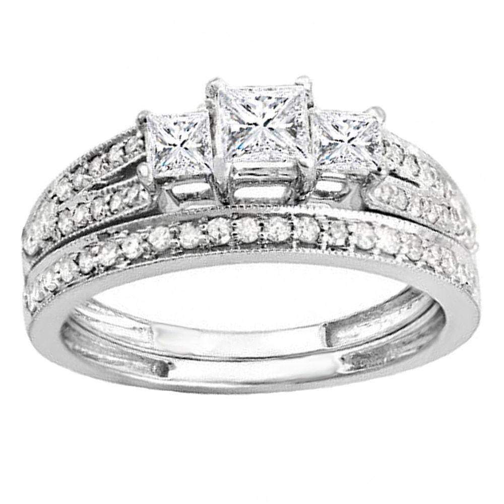 Miadora signature collection 14k white gold 1ct tdw diamond double row - Elora 14k White Gold 1ct Tdw 3 Stone Diamond Bridal Ring Set H I I1 I2 Size 10 Rose Gold Women S Pink