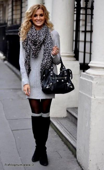 454b997238a Light grey sweater dress and boot socks