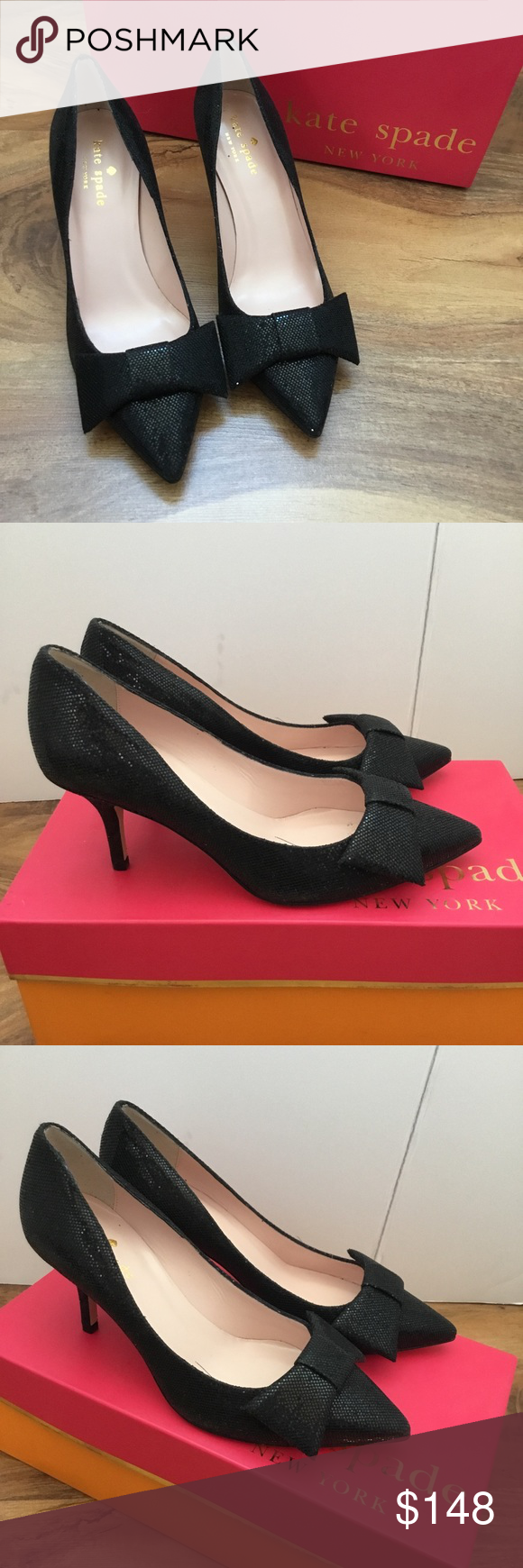 Kate Spade Black High Heel Pointed Toe Pumps Bow Black High Heels Pointed Toe Pumps Kate Spade Black