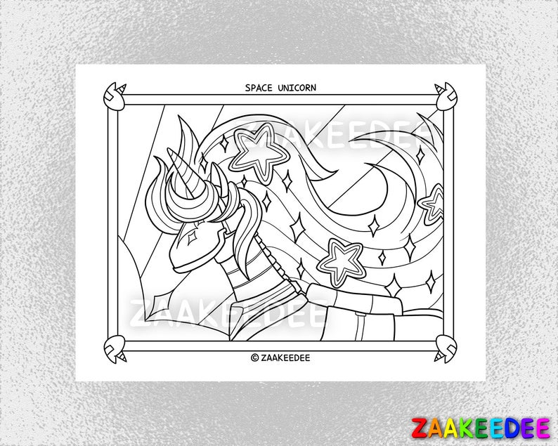 Space Unicorn Coloring Page PDF Instant Digital