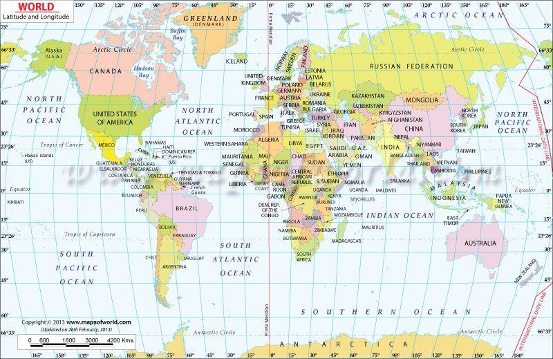 World Map With Latitude And Longitude Science Social Studies - Us map latitude longitude lines