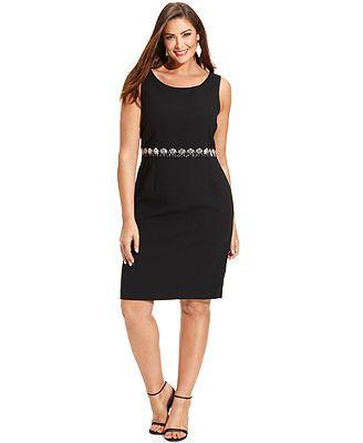 Kasper Plus Size Dress, Sleeveless Beaded Sheath $86.99 Macy's
