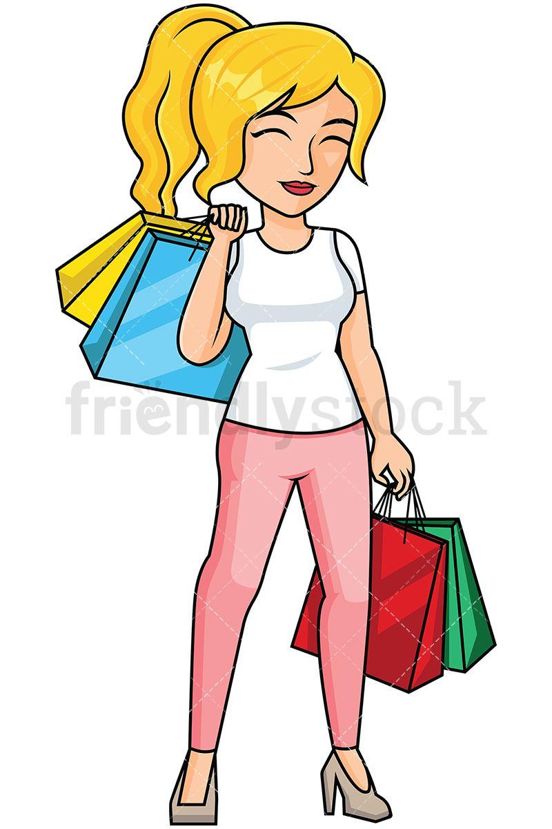 woman after shopping feeling satisfied vector cartoon clipart rh pinterest co uk black woman shopping clipart woman shopping clipart