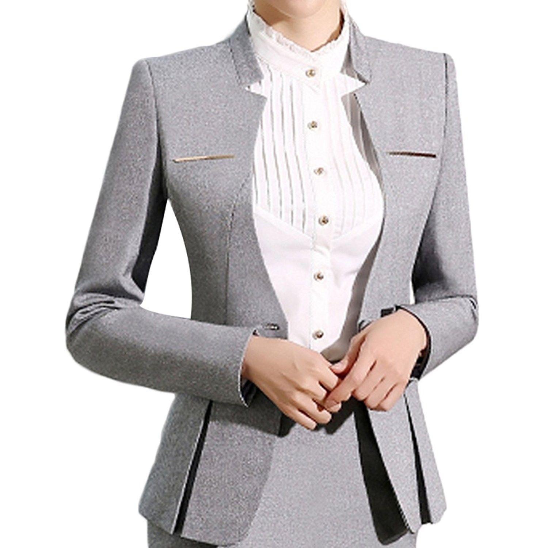 Women's Elegant Business Two Piece Office Lady Suit Set Work Blazer Pant - Suit  Set-light Grey - C0189IH74QL | Suits for women, Clothes for women, Elegant  blazers