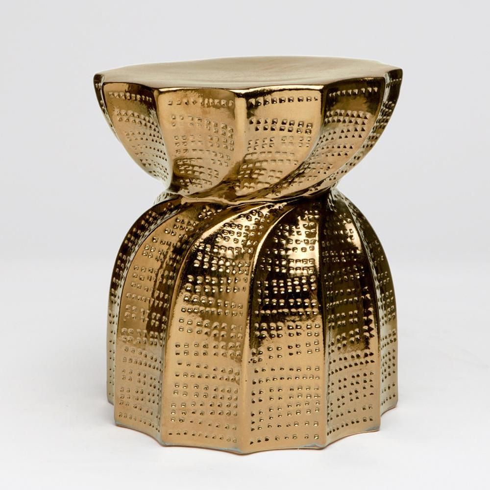 made goods bea accent table and stool in crackled gold  stools  - made goods bea accent table and stool in crackled gold