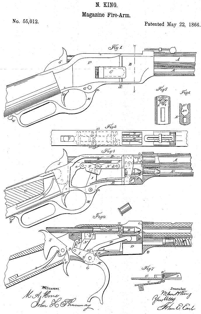 winchester model 1866 us patent no  55 012  u0026 57 808