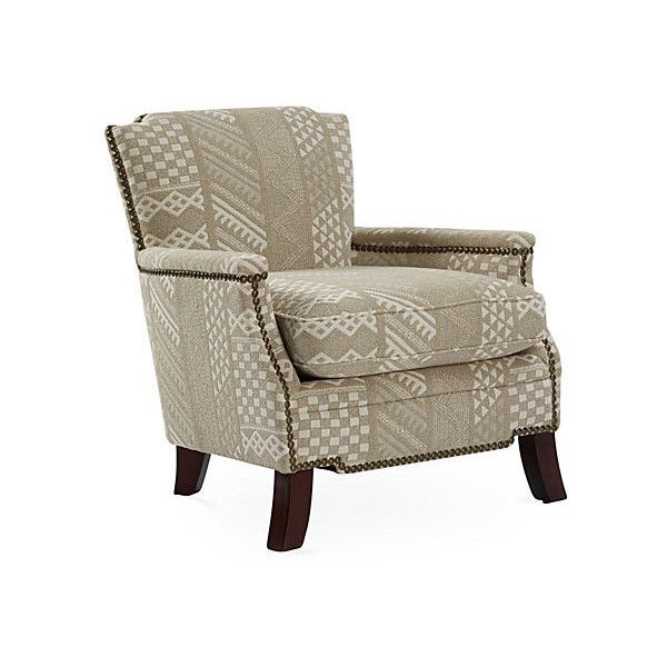 Leona Nailhead Chair Taupe/Cream Club Chairs ($1,119) Via Polyvore  Featuring Home,