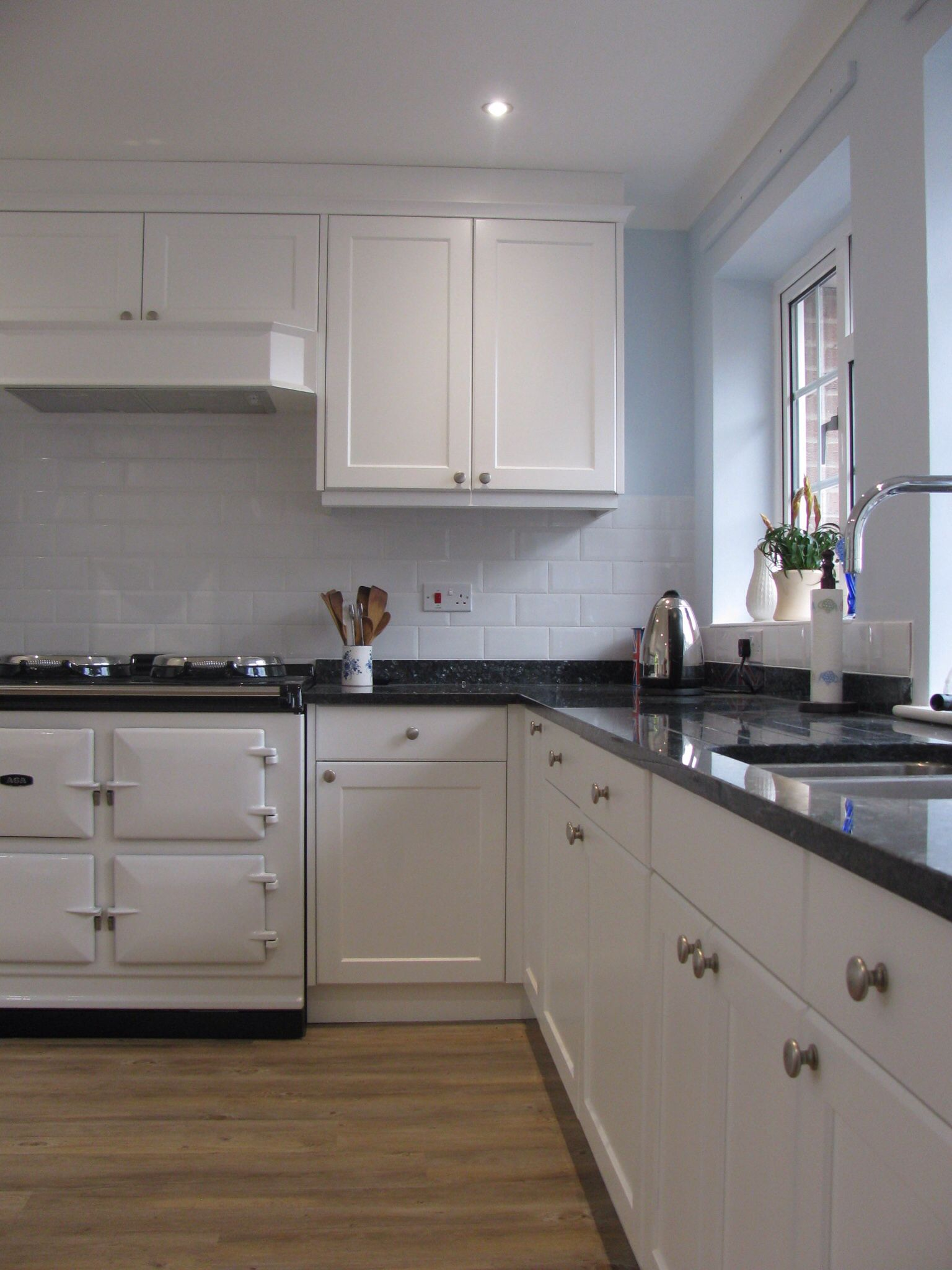 Bespoke Kitchen Finished In Satin White With Blue Pearl Granite And White Aga Home Decor Ideas