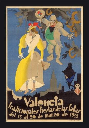 Spain - Valencia - Fiestas de las Fallas - (artist: Vercher, A. c. 1932) - Vintage Advertisement (16x24 Giclee Art Print, Gallery Framed, Black Wood), Multi