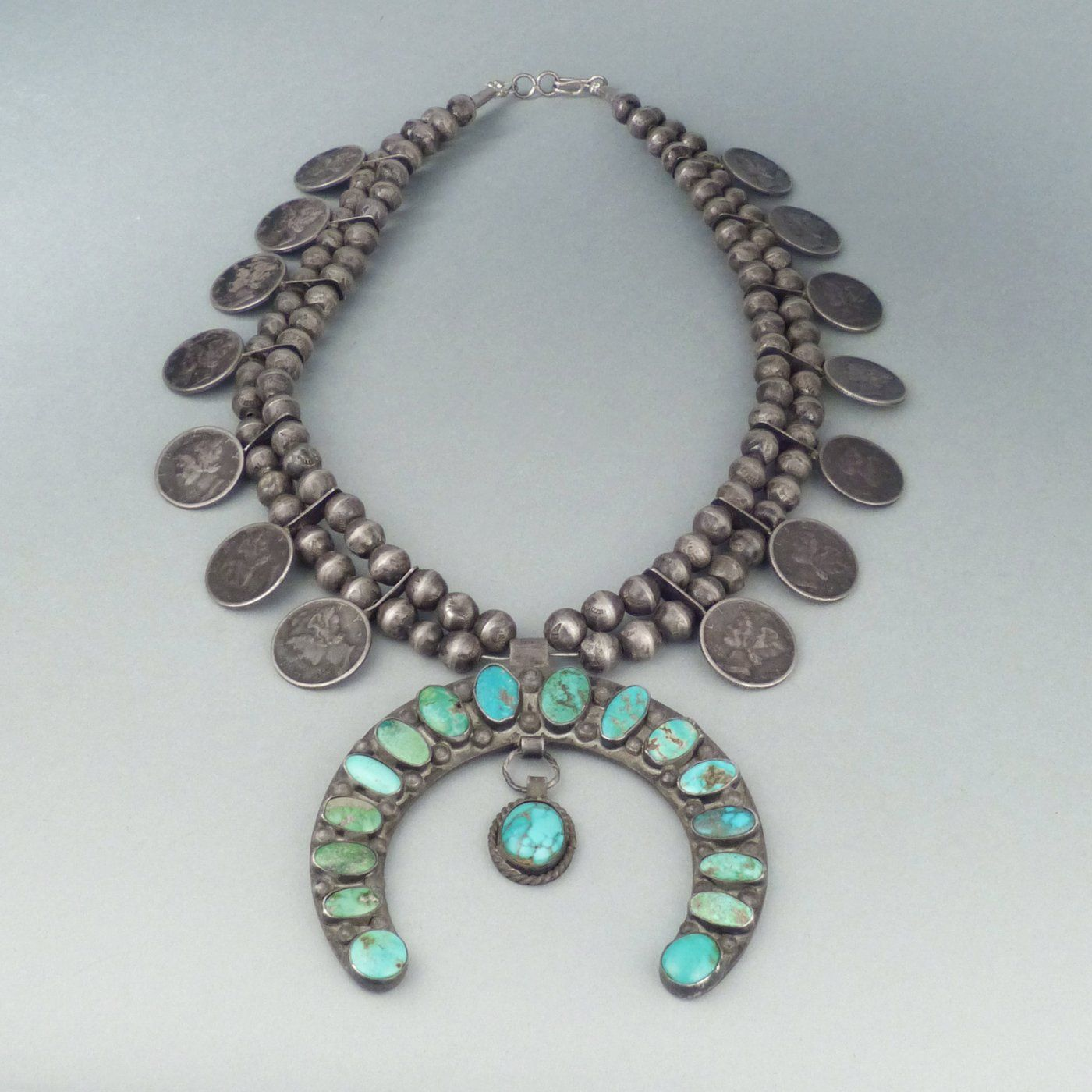 Navajo Silver Bead Necklace with Coins and Turquoise Naja, c.1940 ...