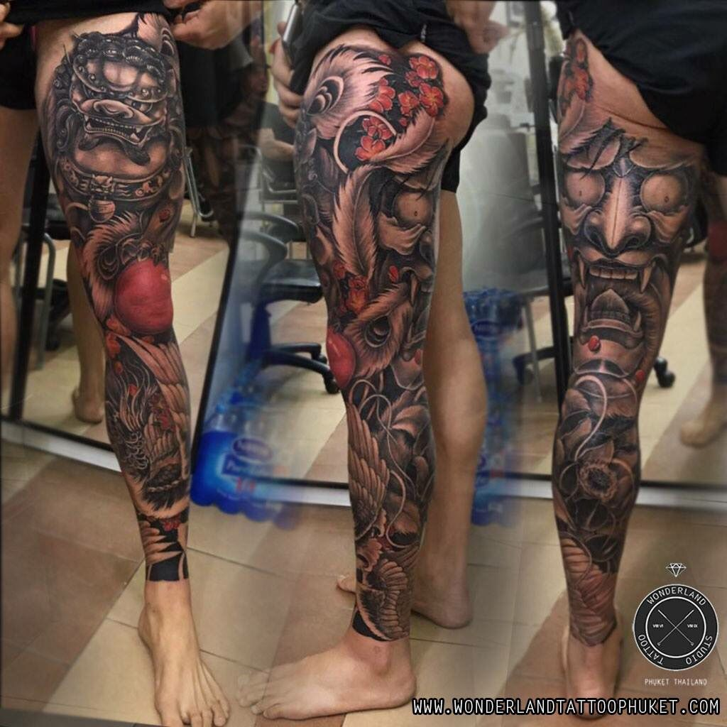 Wonderland Tattoo Leg Sleeve Tattoo Leg Tattoos Hannya Mask Tattoo
