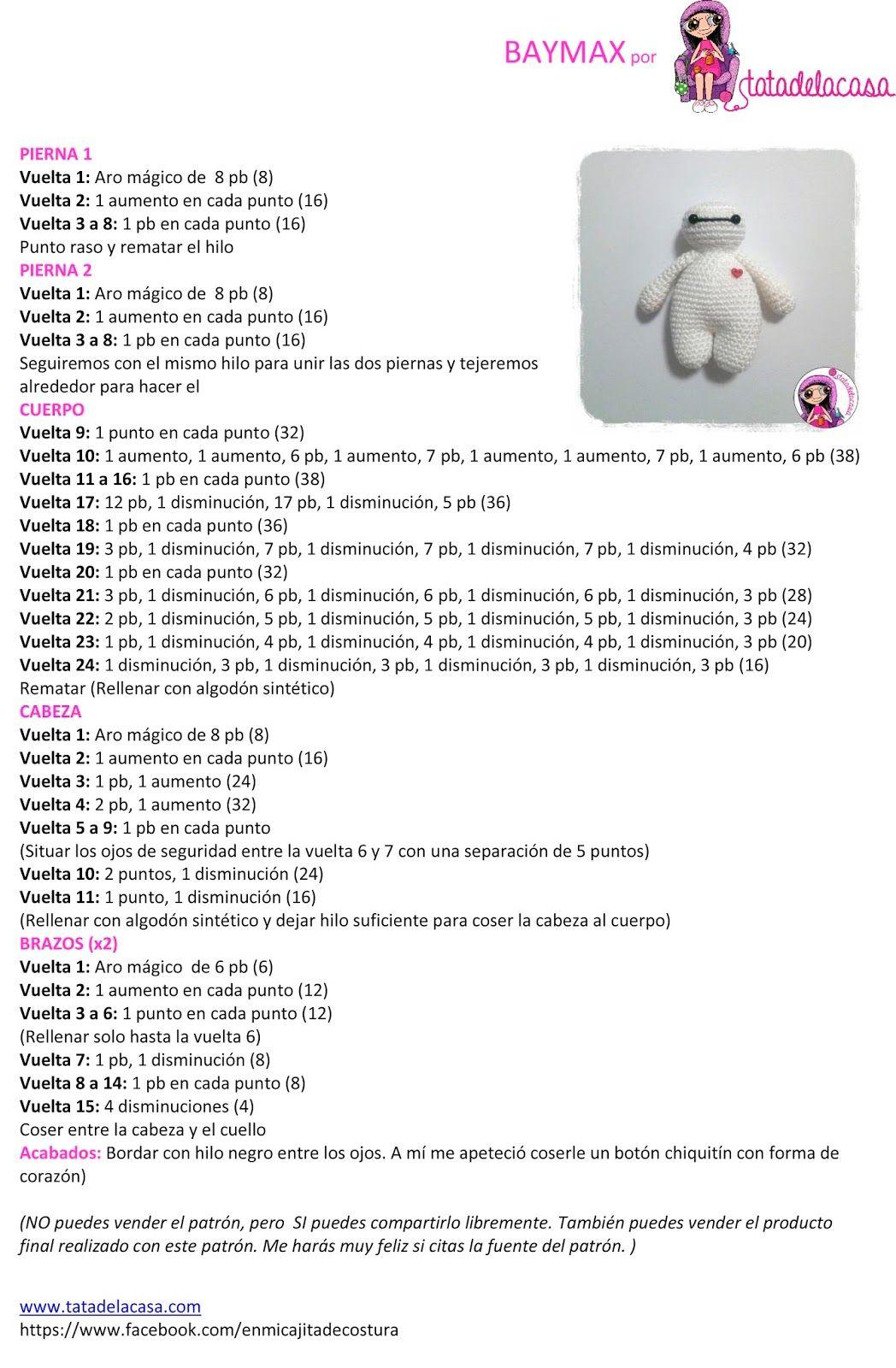 Tatadelacasa: Baymax (patrón amigurumi) | DIY-knitting | Pinterest ...
