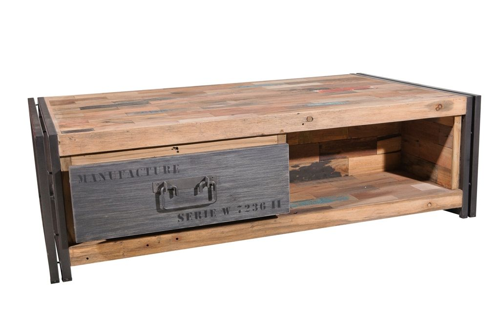 table basse avec rangement bois recycle