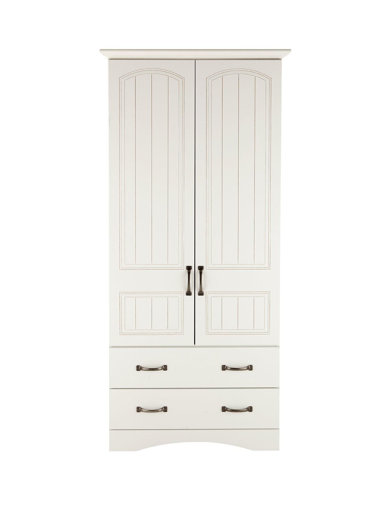 Consort Corby Ready Assembled 2 Door, 2 Drawer Wardrobe In White Consortu0027s  Newu2026