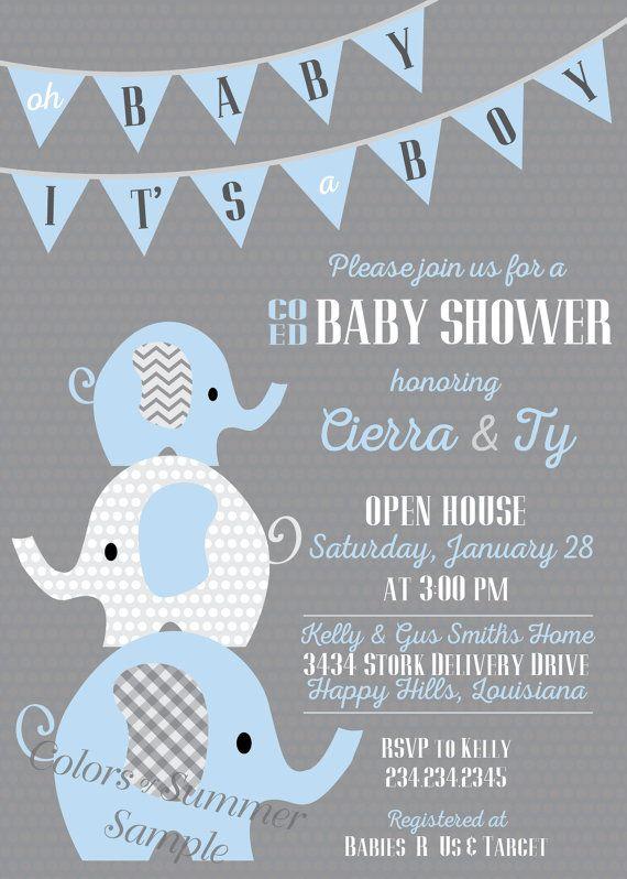 Elephant Baby Shower Invitation Co Ed Baby Shower Invitation Blue